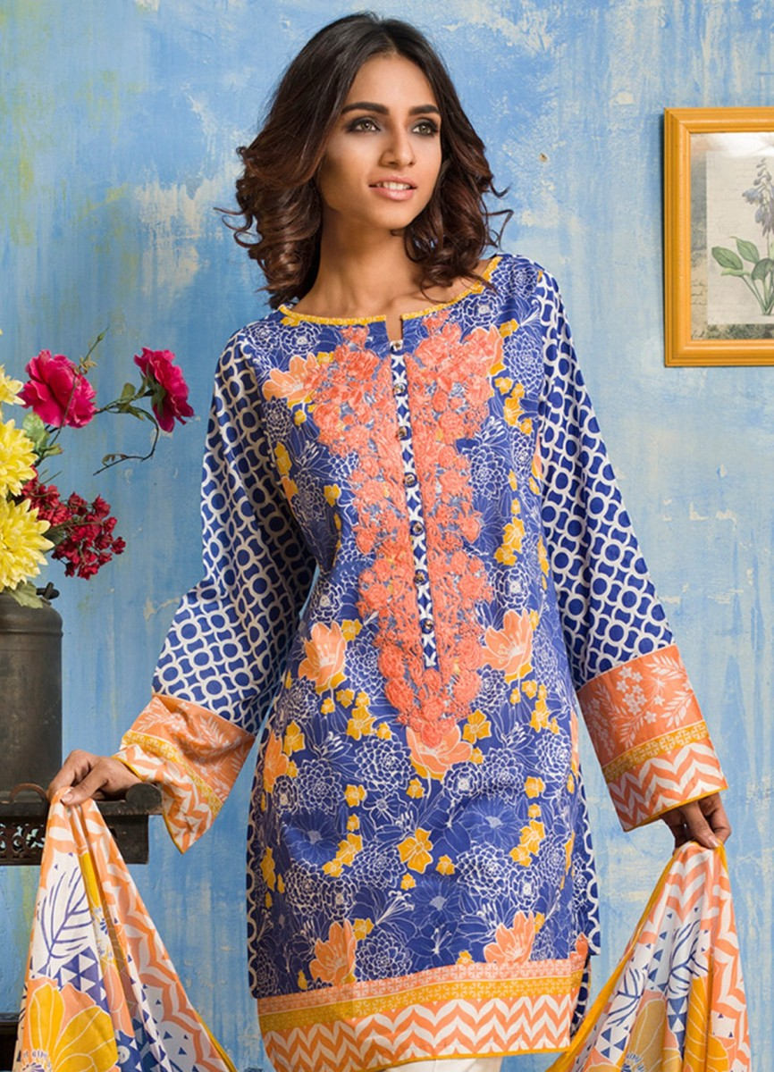 Gul Ahmed blue lawn suit with pink embroidered neckline