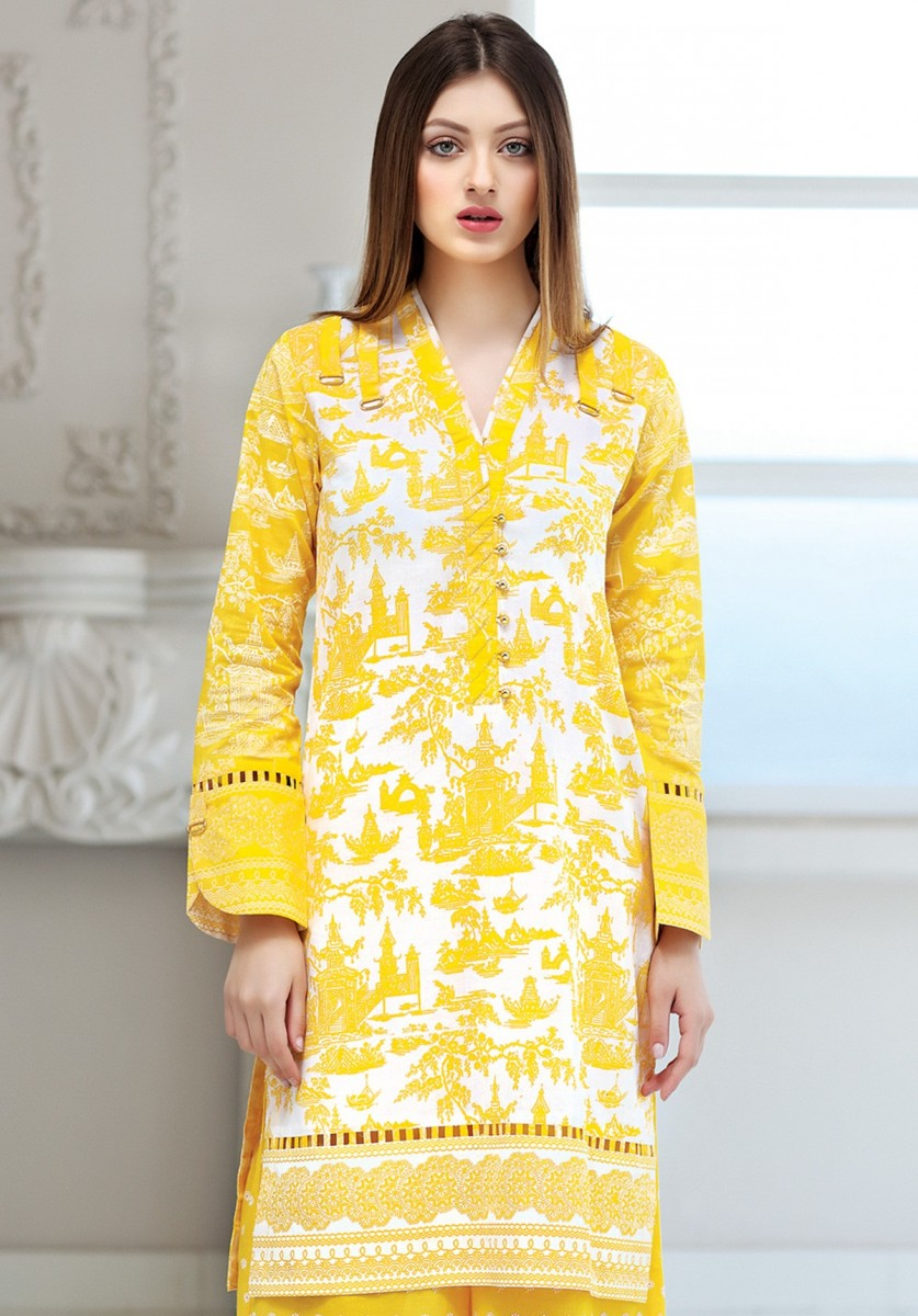 bright yellow two piece lawn suit by Gul Ahmed