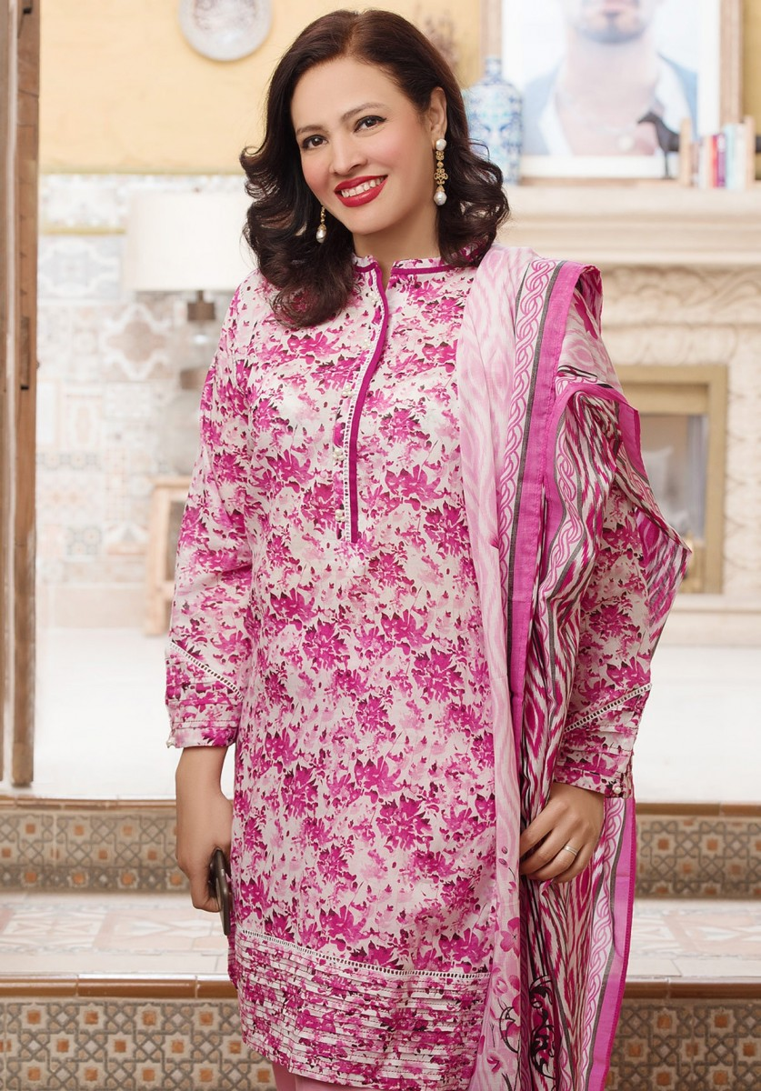 Pink Floral Printed Summer Lawn suit for mothers by Gul Ahmed