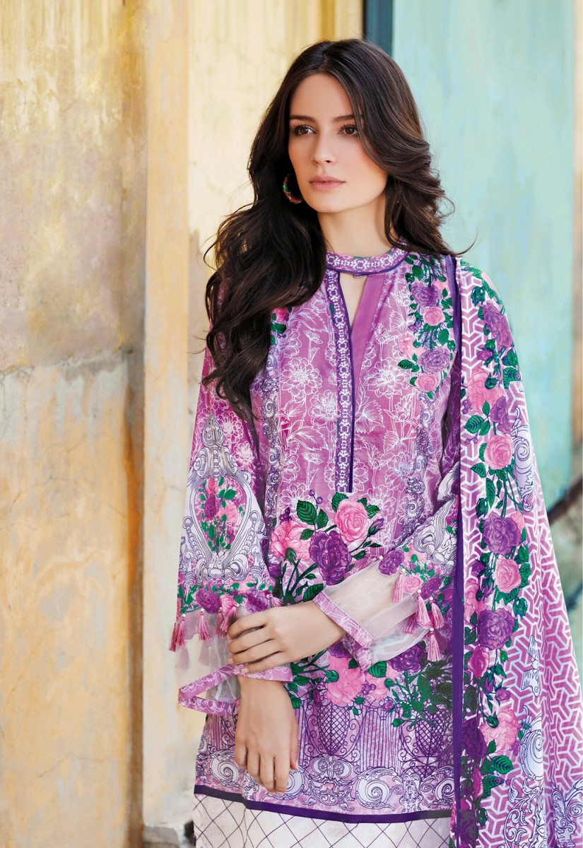 purple printed lawn three pice dress by Gul Ahmed