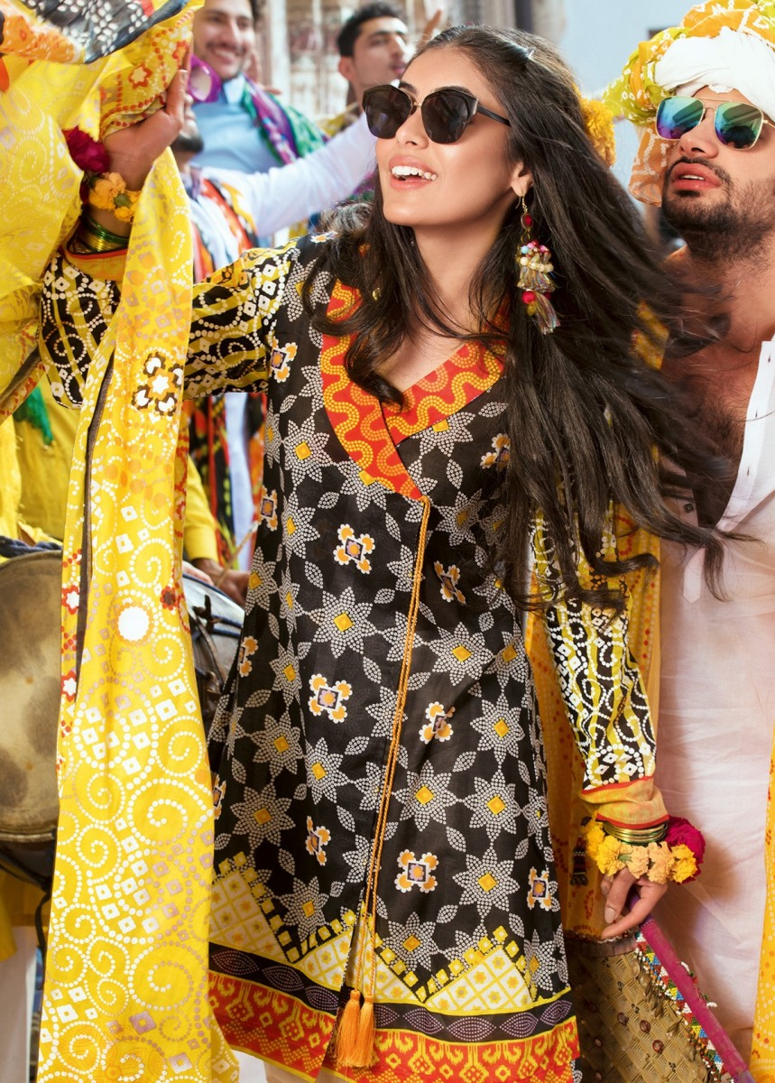 Bee Contrast yellow and black 3 piece lawn suit by Gul Ahmed Lawn