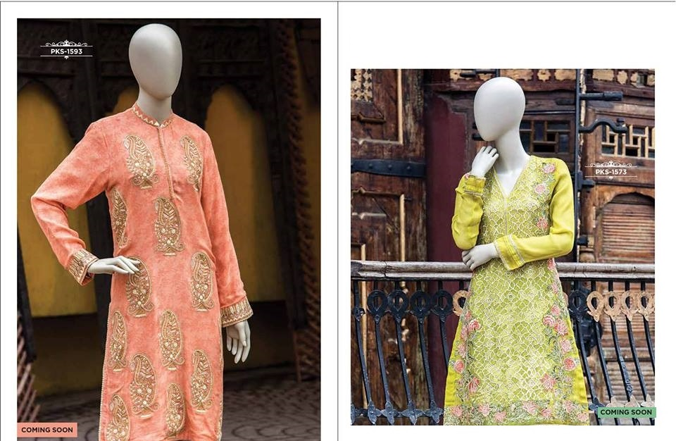 pink and lemon formal summer tunics for girls by Junaid Jamshed J.
