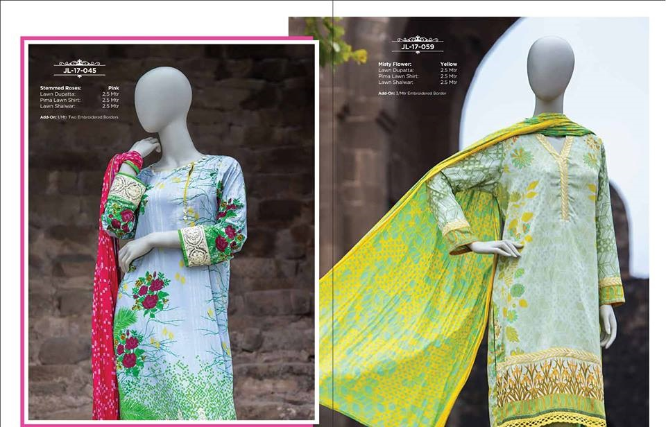 3 piece lawn dupatta suits by J.