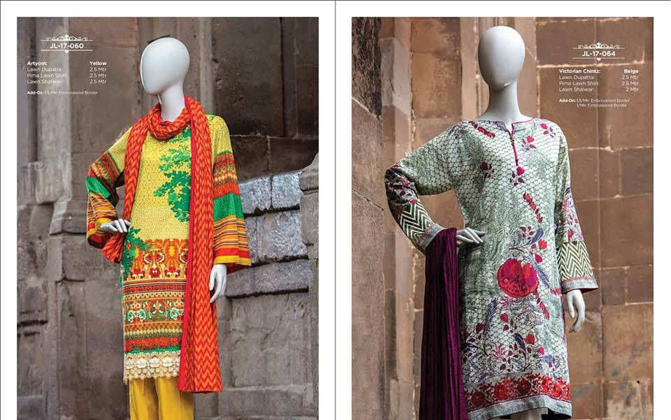 Orange and Purple printed lawn suits by Junaid Jamshed