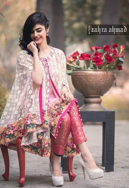 Zahra Ahmad embroiderd border Net Cape with Jamawar Capri pant
