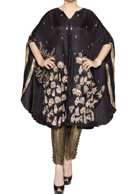 black cape style dress with gold embroidery