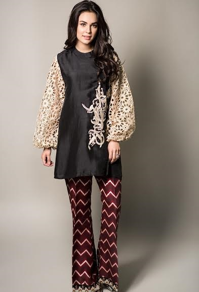 Maria.B semi formal suit with printed bell bottom pants