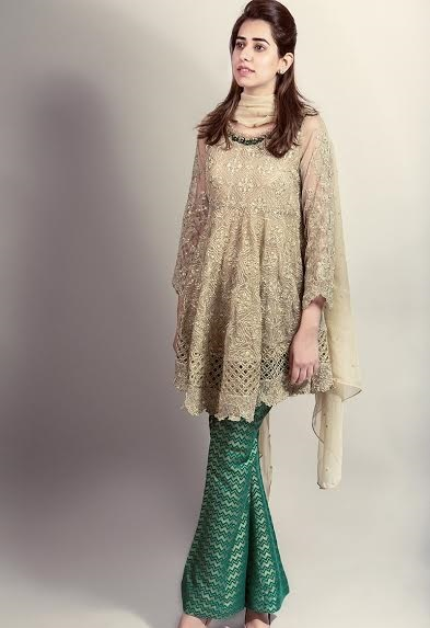 Beige frock with green jamawar bell bottom
