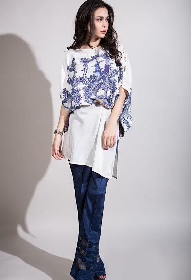 Maria B evening wear white dress with navy blue bell bottom trousers