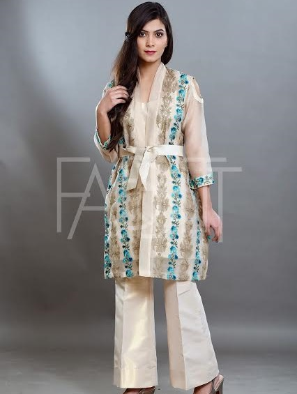 gold floral Beige Jacket with bell bottoms