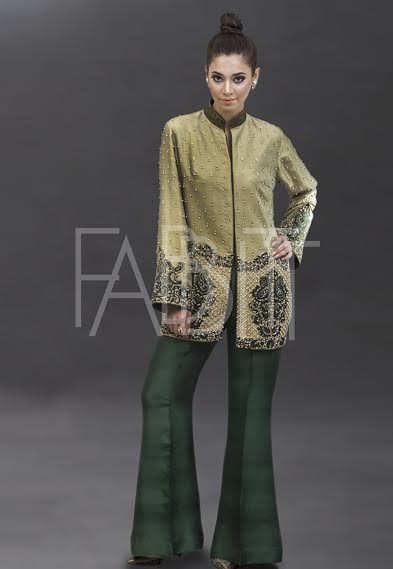 Embroidered Gold kurti with green bell bottom
