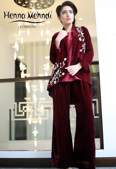 maroon velvet embroidered jacket with velvet bell bottom trouser
