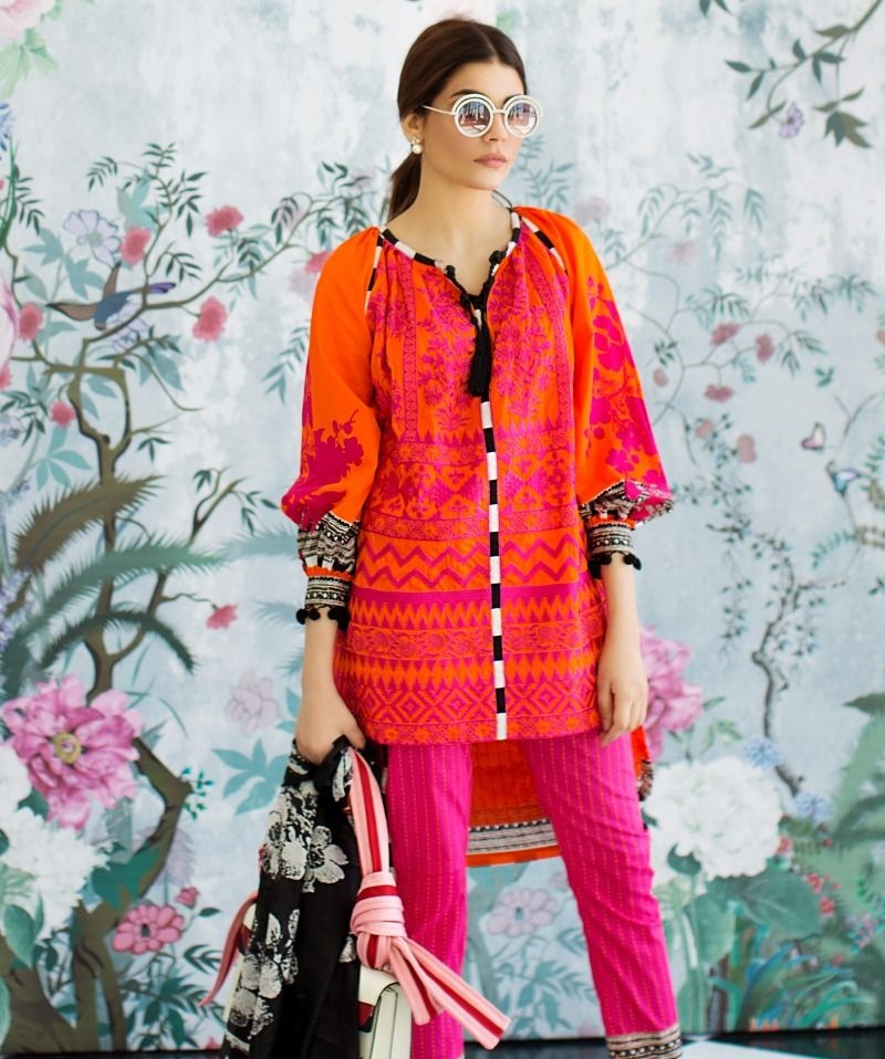 Tangerine orange tanka embroidered lawn suit with silk duppata by Sana Safinaz