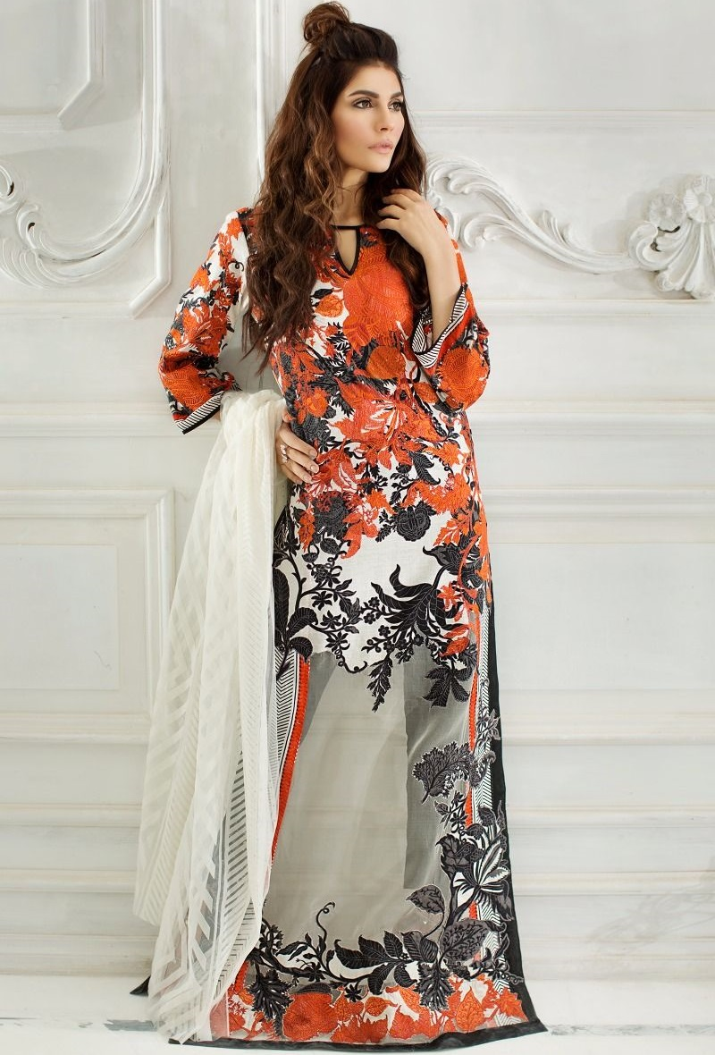 Jacquard orange and black lawn suit with net dupatta by Sana Safinaz