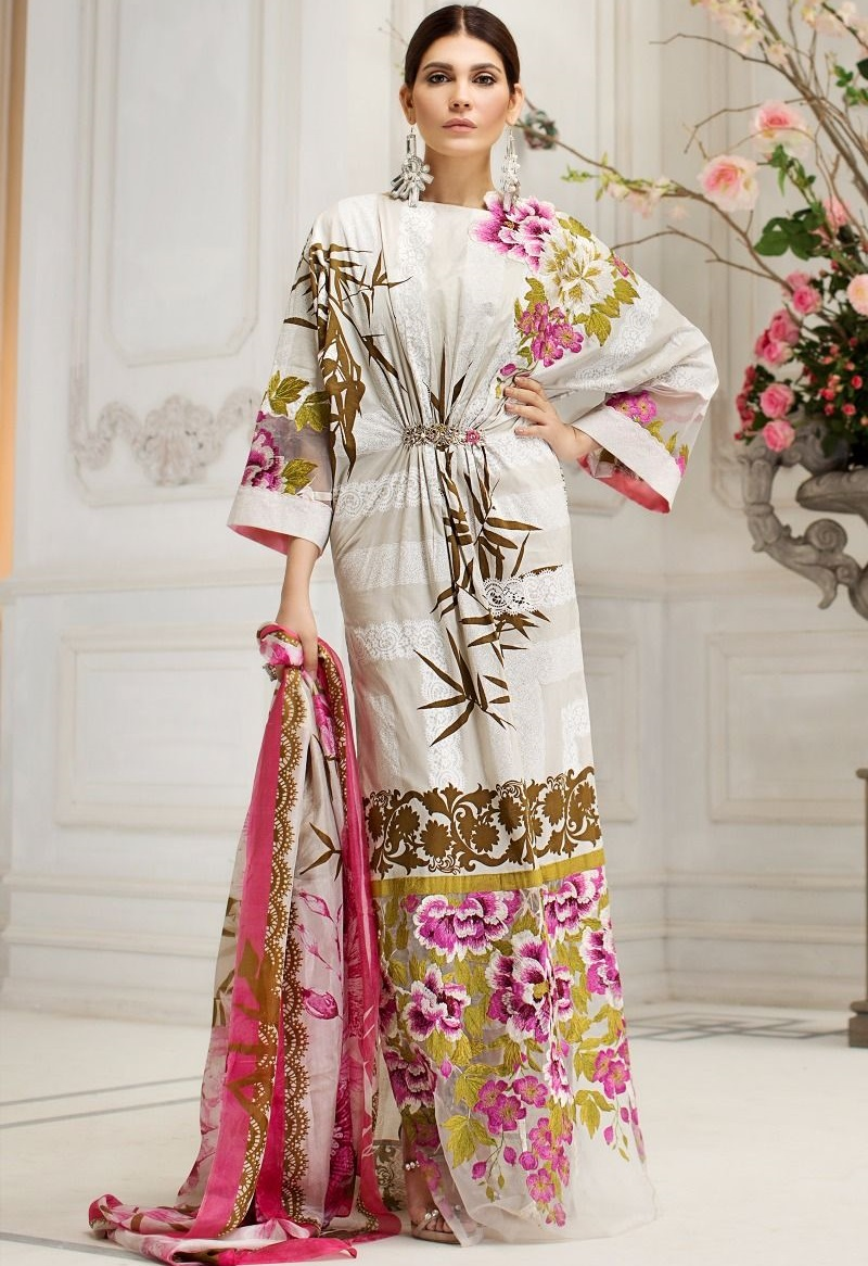 paste printed white lawn kameez with cascading leaf design along with silk dupatta