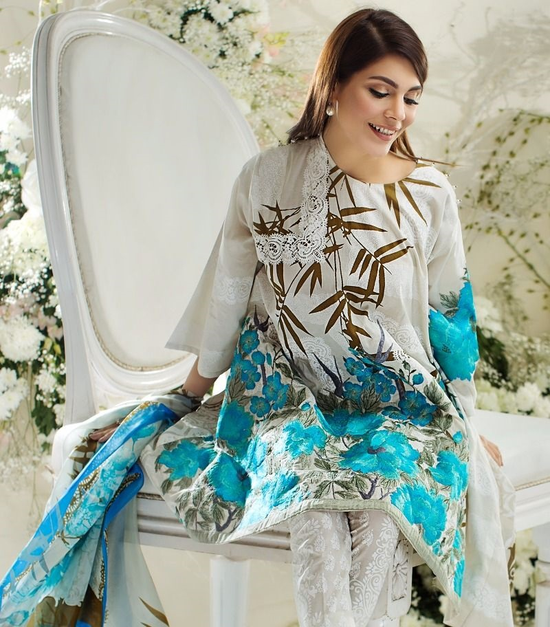 past printed lawn shirt with embroidered lace work and cascading leaf design