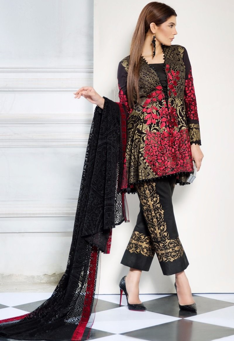 heavy gold printed black lawn shirt in floral trellis print by Sana Safinaz