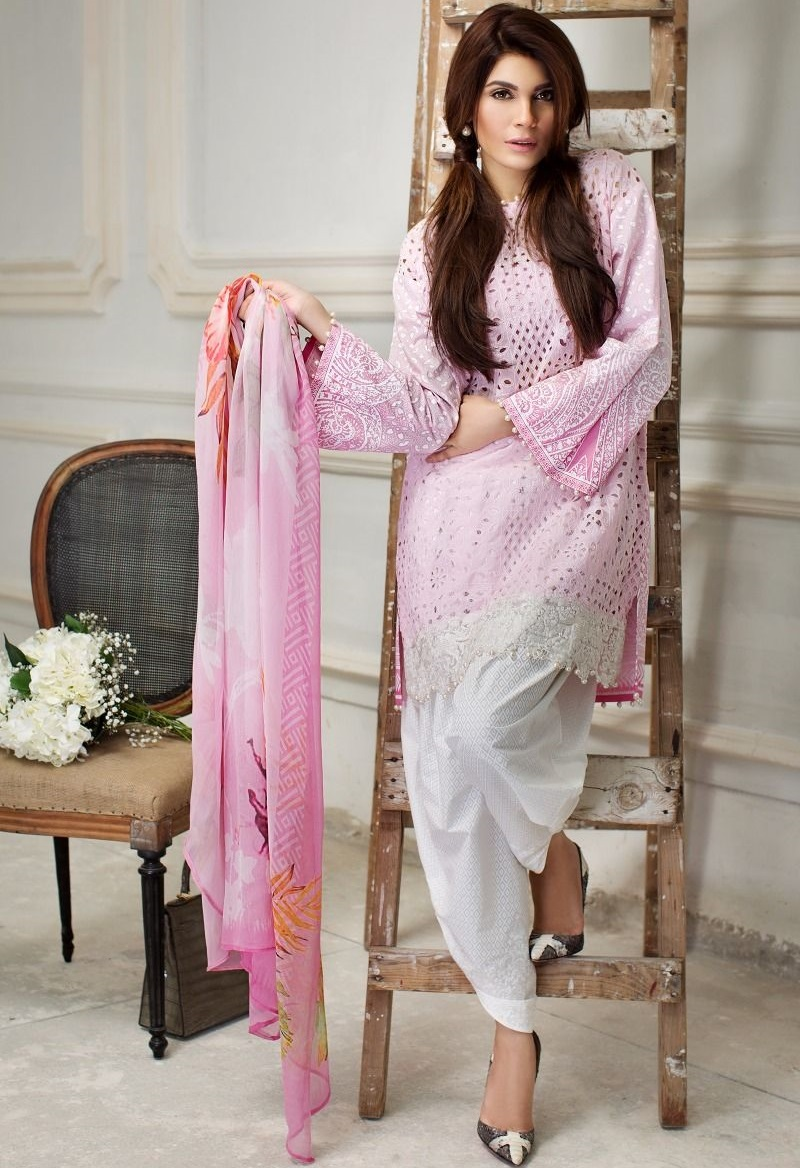 embroidered lawn suit with cut work and chiffon dupatta by Sana Safinaz