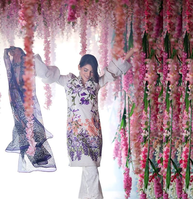 Sana Safinaz Summer Lawn suit with purple, peach and khaki green Print