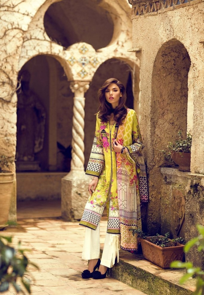 3 piece digital printed silky lawn suit with viscose dupatta