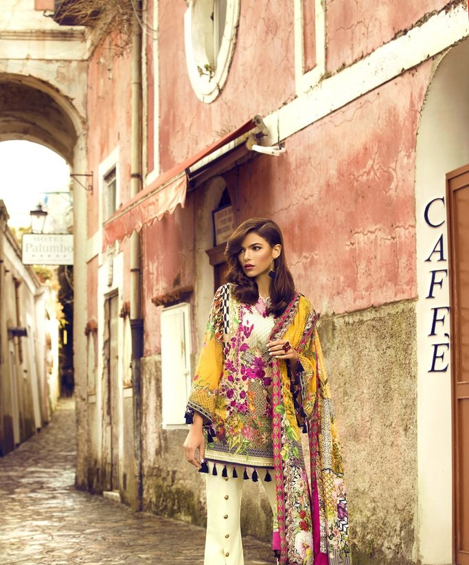digital printed bamboo lawn suit with digital printed silk dupatta