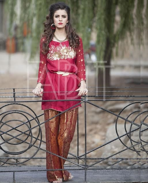 Greek Style Waist Belt Outfit in Red with jamawar bell bottom trouser
