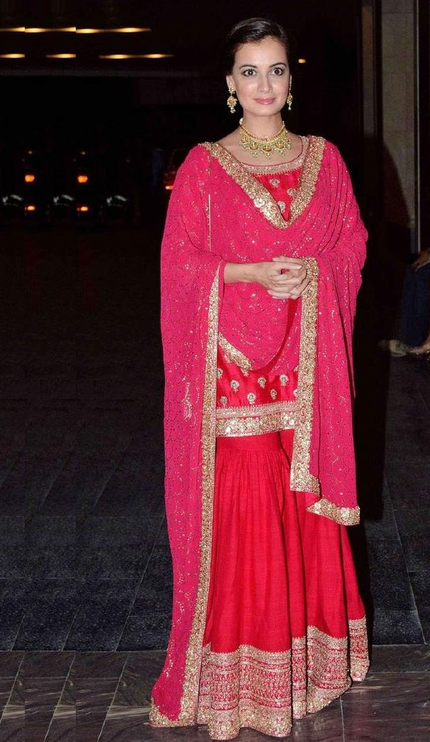 Diya Mirza wearing gold embroidered suit with Sharara