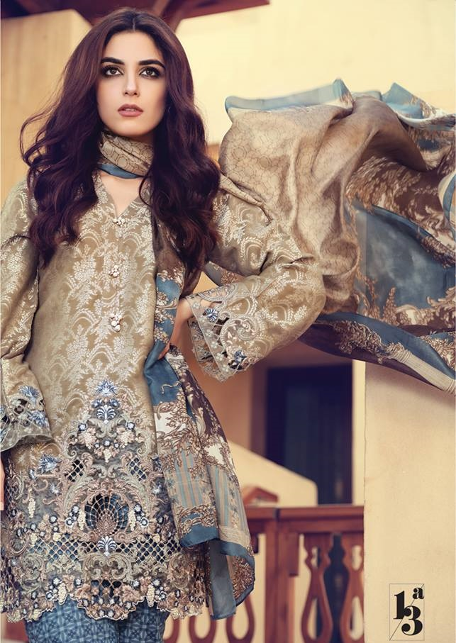 Brown Jacquard Lawn outfit with Printed Silk Dupatta