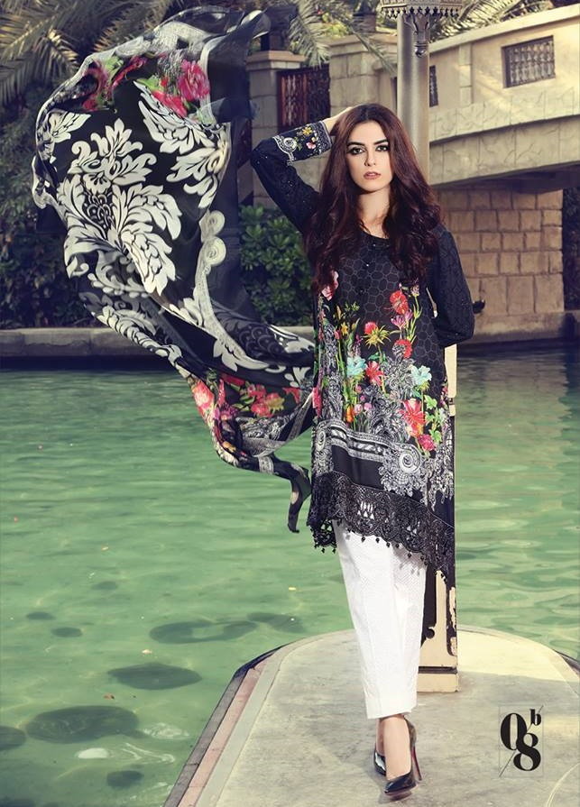 Black digital printed lawn dress with embroidered sleeve lace by Maria.B