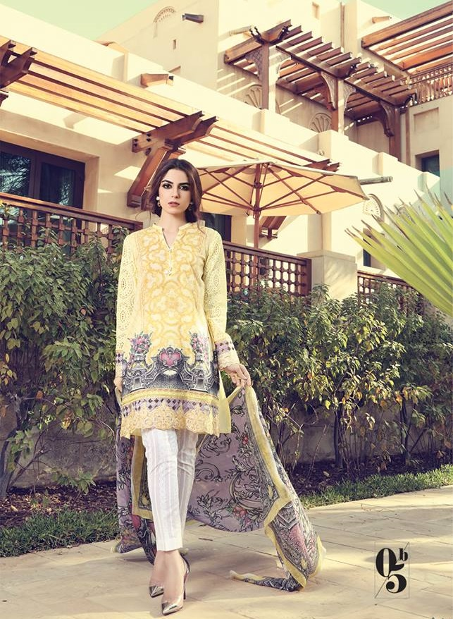 Yellow printed lawn dress with Digital Printed Silk Dupatta