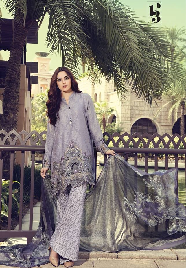 Maria.B grey embroidered lawn suit with swarovski buttons