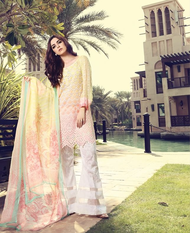 Printed lawn shirt with Schiffli Embroidered Chiffon Sleeves