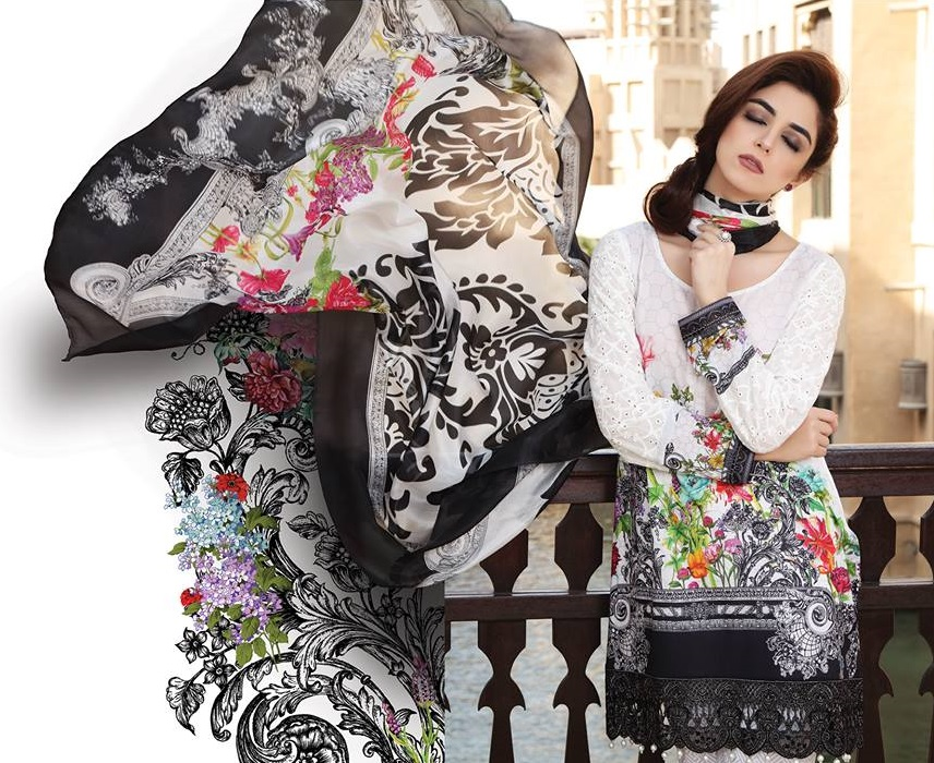 Maria B Digital printed white lawn dress with multicolored print