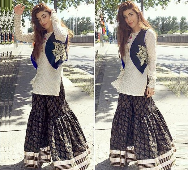 Urwa Hocane wearing Velvet Jacket paired with Jamawar sharara
