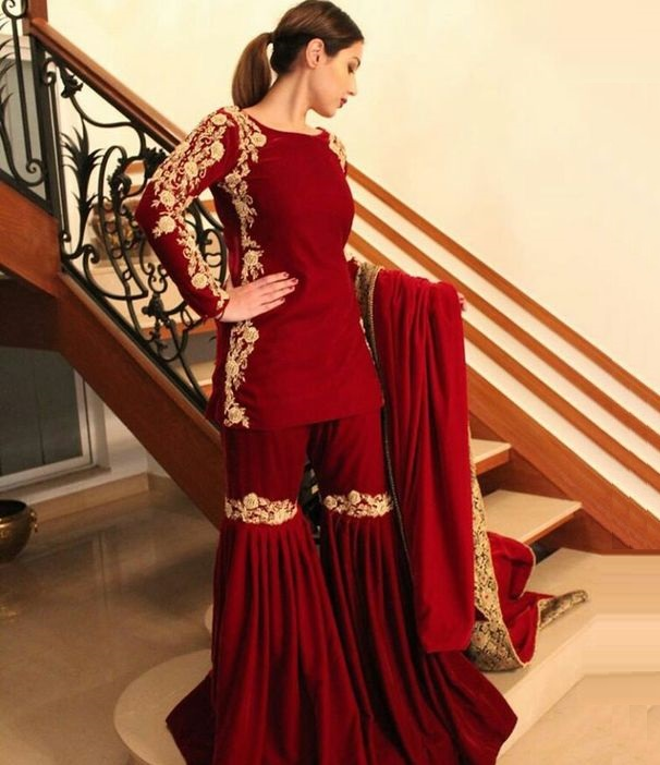 reddish maroon formal gold embroidered dress with sharara