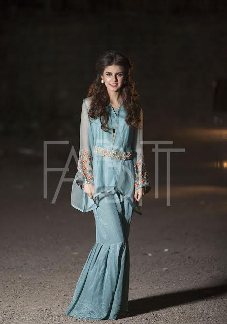 embroidered Waist Belt Dress with Sharara Pant
