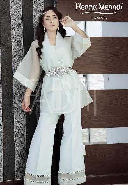 Light green plain Organza short tunic with Royal Style Waist Belt