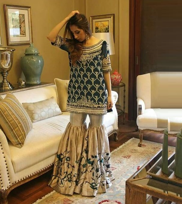 Pant style sharara with short kurti