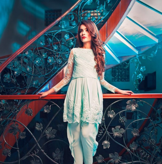 Casual peplum frock with tulip shalwar