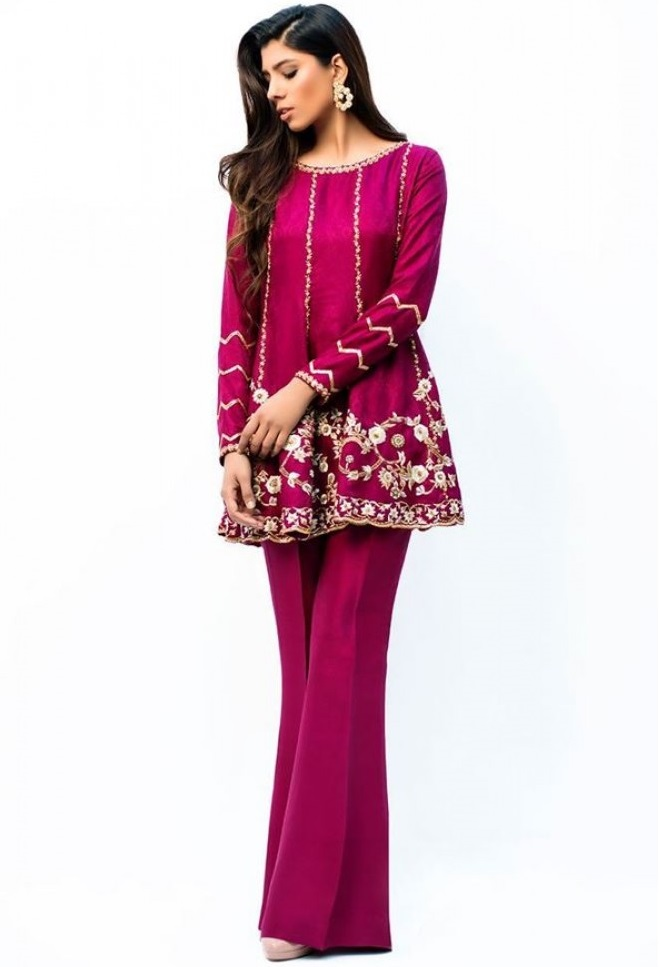 Shocking pink embroidered waist length peplum frock