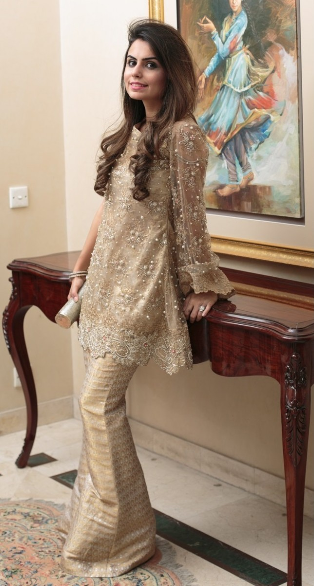 Embroidered gold peplum frock with jamawar bell bottoms