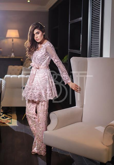 Waist Belt embroidered Peplum frock in Pink color