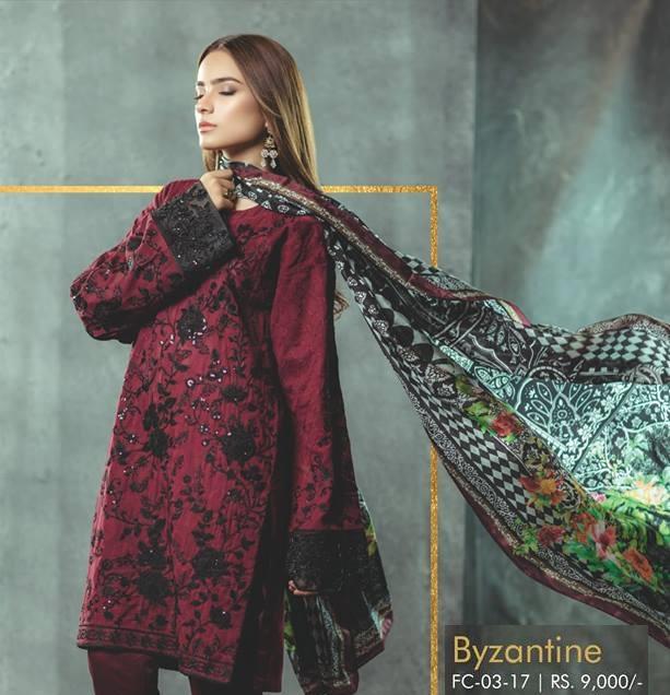 Alkaram embroidered burgundy Jacquard shirt with dobby pants and silk dupatta