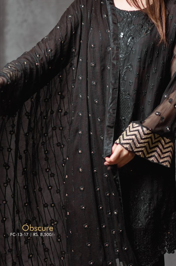 Jet black eid dress by Alkaram