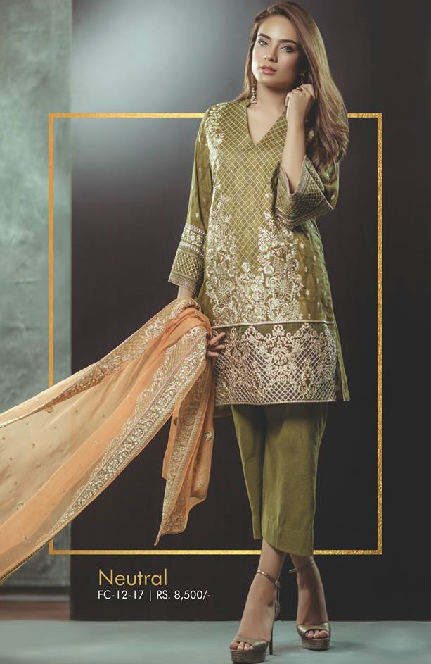 Alkaram Deep green Neutral Jacquard Shirt with Zari Work