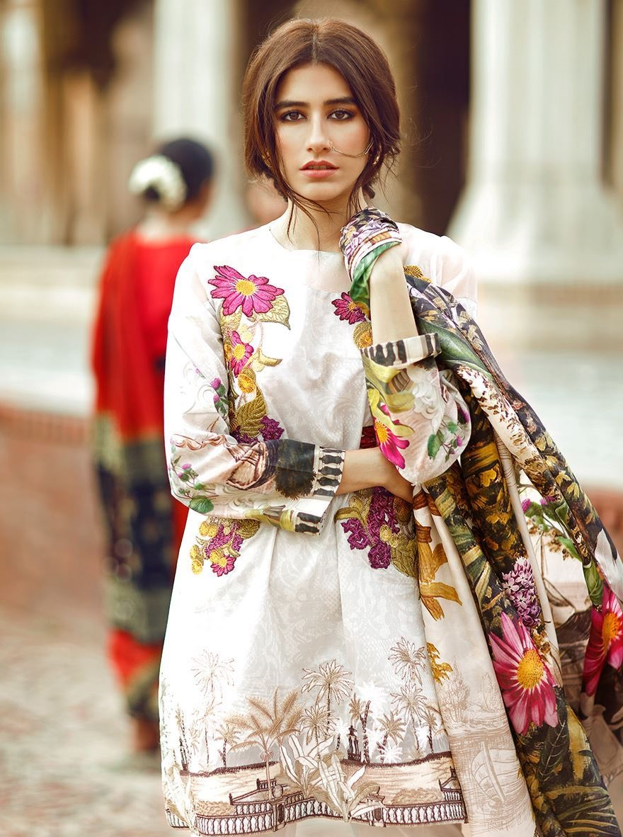 Cross Stitch White Eid Dress with Colorful Embroidery