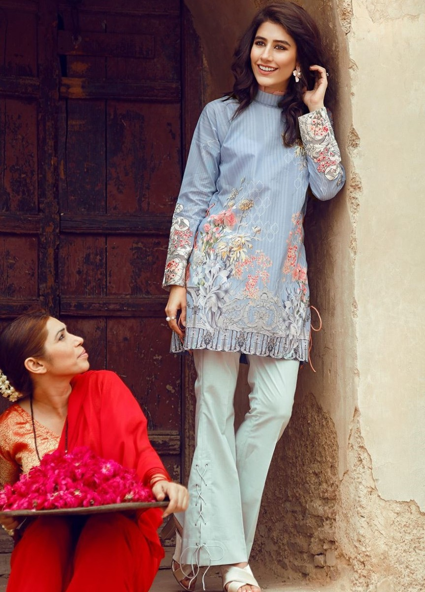 Light blue Pima Cotton Lawn Eid outfit by Cross Stitch