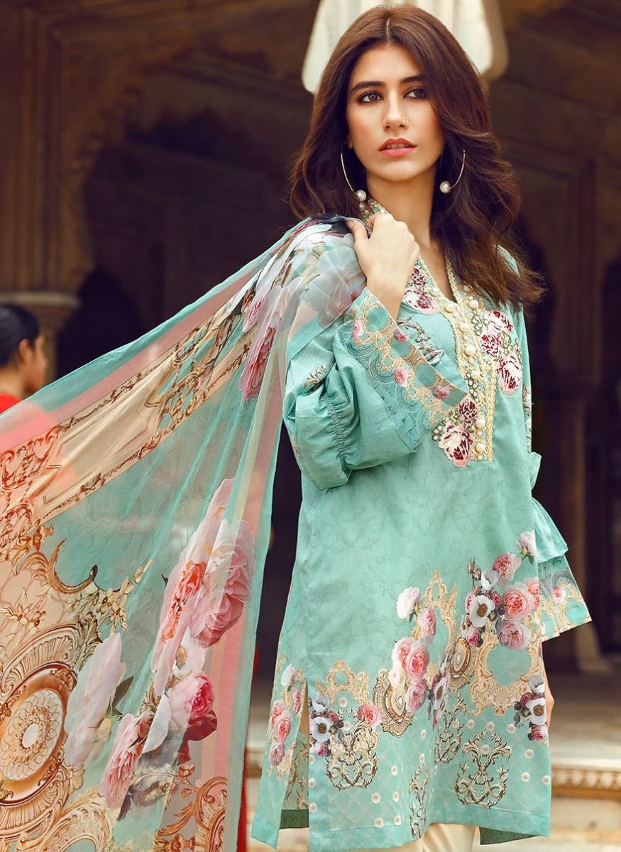 Cross Stitch Ferozi Eid dress with embroidered neckline