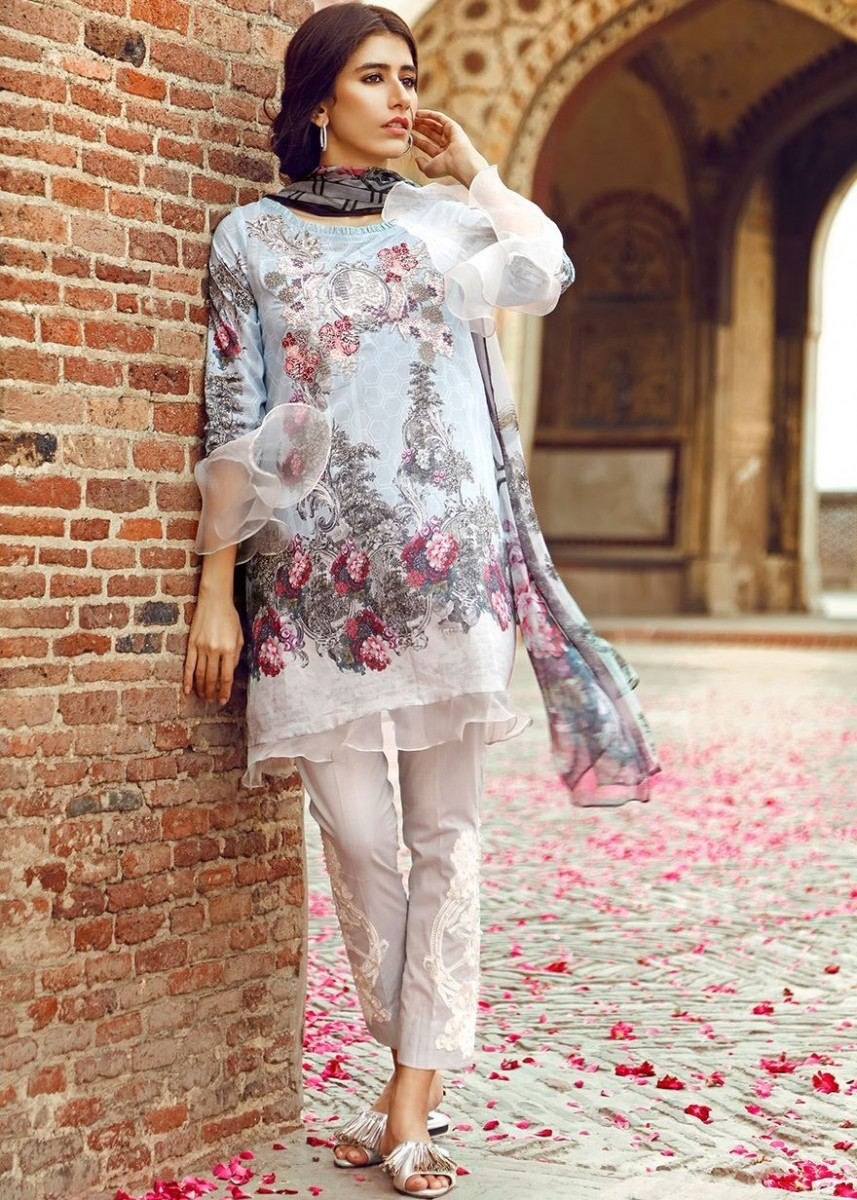 Cross Stitch Digital printed Eid lawn suit with embroided patch for trouser and neckline