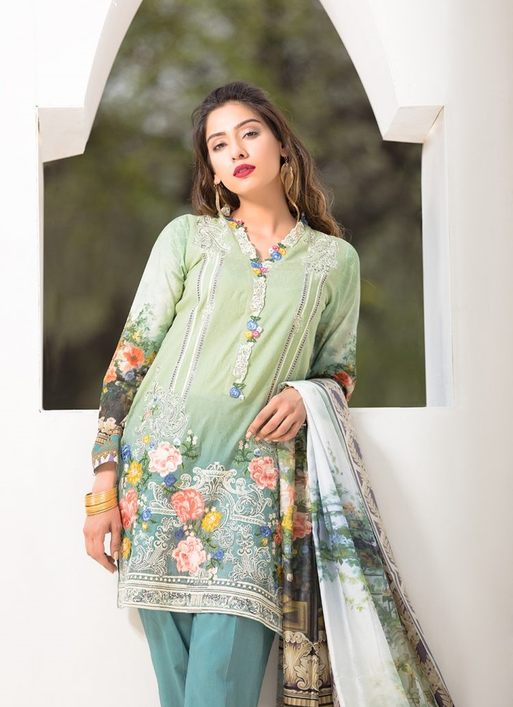 Lawn Shirt with Organza Embroidered Neckline Lace